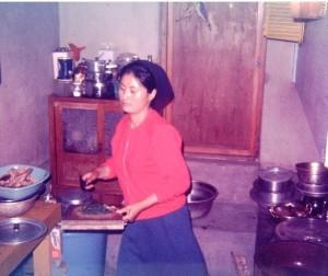 In her Ondol Kitchen